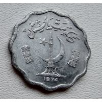 Пакистан 10 пайс, 1974 Полумесяц и памятник под надписью 6-3-50