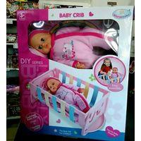 Новая кукла пупс в кроватке рост 40 см