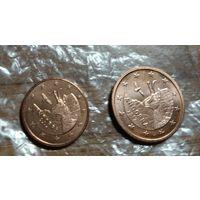 1 и 2 цента Андорра 2017 год