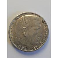 5 рейхсмарок Германия (Третий Рейх) 1936 год A.Серебро 900. Монета не чищена. 313