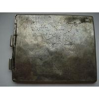 Крышка портсигара с картой Германии до 1940 года.