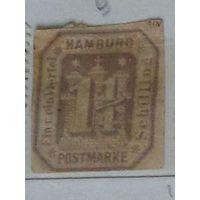 Почтовая марка Гамбурга.  Дата выпуска:1866-04-27   !!!
