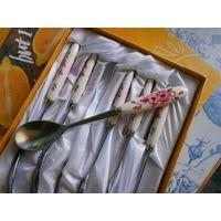 Набор чайных ложек с фарфоровыми ручками. Общая длинна 15,5 см,ручки 6.5 см