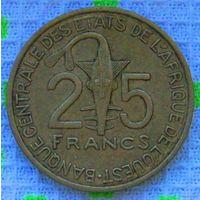 Западная Африка 25 франков 2007 года. Бенин, Буркина-Фасо, Гвинея-Бисау, Кот-д'Ивуар, Мали, Нигер, Сенегал. Инвестируй в коллекционирование!