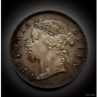 Стрейтс Сетлментс 20 центов 1888 (СЕРЕБРО) AU