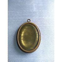 Локет- медальон для фото  под стеклом антикварный медно -латунный. К. 19 нач. 20 в. 3,5х2,5 см