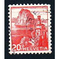 Швейцария, почтовая марка, 1936 год, номинал 20с, SG#375A (*10)