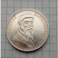 ФРГ 5 марок 1968г  Иоганн Гутенберг   Пруф Серебро 0,625
