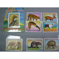 Марки - фауна, Гвинея, блок и 7 марок