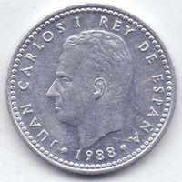 Испания,  1 песета 1988 шгода.