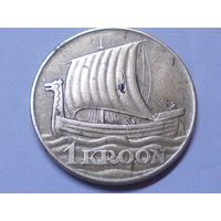 Эстония  1 крона 1934 г. Корабль.