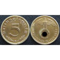 YS: Германия, Третий Рейх, 5 рейхспфеннигов 1937G, КМ# 91