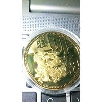 """Китай сувенирная монета """"Год зайца""""  позолота. 38 мм. распродажа"""