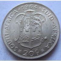 ЮАР 20 центов 1964 - серебро, состояние!