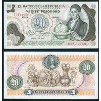 Колумбия 20 песо оро 1982 UNC