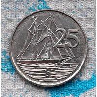 Каймановы острова 25 центов 2008 года. Корабль. Инвестируй выгодно в монеты планеты!