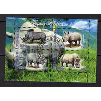 Чад - CTO - носороги животные Африканские - Фауна - Частный выпуск - зубчатый - 201