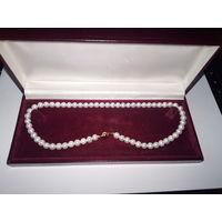 Ожерелье из жемчуга с высоким блеском,диаметр жемчужины7-8мм,застежка золото 18к AU750 ''SINIA AKOYA''