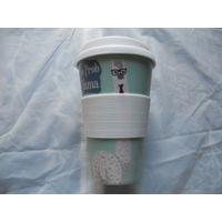 Термо кружка с резиновой крышкой. распродажа