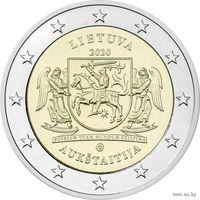 2 евро 2020 Литва Аукштайтия UNC из ролла