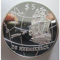 Новая Зеландия. 5 долларов 1996. Открытие Новой Зеландии. Серебро (265)