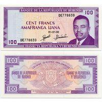 Бурунди. 100 франков (образца 1990 года, P29c, UNC)