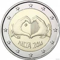 2 евро 2016 Мальта Любовь UNC из ролла