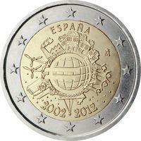 2 евро Испания 2012 10 лет наличному обращению евро UNC из ролла