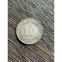 Стрейтс Сетлментс 10 центов 1917 г.