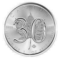 Кленовый лист, 2018, Канада, юбилей 30 лет чеканки, серебро, 1 oz, инвестиционная