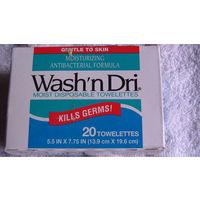 """Влажные салфетки для лица Wash""""n Dri. 20 шт. распродажа"""