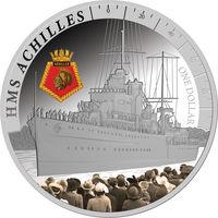 """Новая Зеландия 1 доллар 2014г. """"Корабль HMS Achilles"""". Монета в капсуле; подарочном футляре; номерной сертификат; коробка. СЕРЕБРО 31,103гр.(1 oz)."""