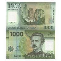 Чили 1000 песо образца 2010 года UNC p161a полимерная
