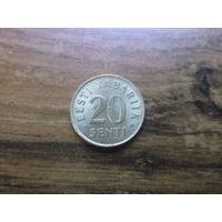 Эстония 20 центов 1992