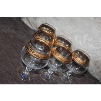 Комплект хрустальных бокалов, времён СССР, Чехословакия, BOHEMIA, 6 штук, высота 12 см.