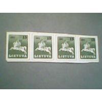 Литва. Рейтар. 1991г. ;сцепка из 4 марок