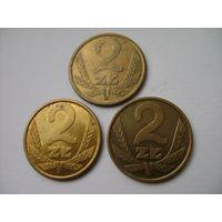 Польша, 2 злотых 1975,1976,1977,1979,1980 год.