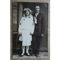 Свадебное фото. 1930-е. 8.5х13.5 см.