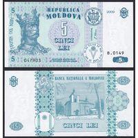 Молдова 5 лей 2009. UNC