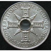 Бр. Новая Гвинея 1 шиллинг 1938 СЕРЕБРО (77)