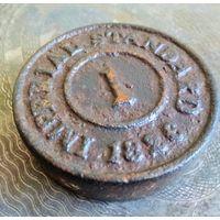 Гирька 1826 г., 1 LB (фунт) Imperial standard Англия, гиря аптечная торговая, клейма диаметр 6.8 см.