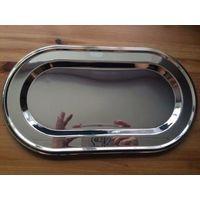 Поднос - 29 на 16 см, овал. Поднос без рисунка, Германия. Раньше все скупала это бренда, очень классная посуда, сама такой пользуюсь. Никель-серебряное покрытие.