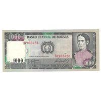 Боливия 1000 песо 1982 года. Состояние aUNC!