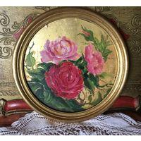 Картина Розы масло на золотом фоне Франция