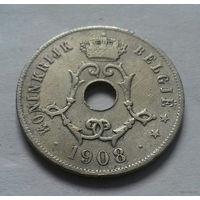 25 сантимов, Бельгия 1908 г., совсем редкий год