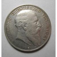 Германия, Баден, 5 марок, 1907 год.