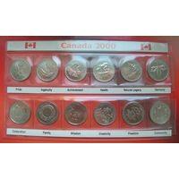 """Канада 2000 набор памятных монет серия """"Миллениум"""" 25 центов (квотер)"""