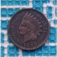 США 1 цент 1899 года. Индеец.
