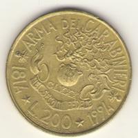 200 лир 1994 г. 180 лет карабинерам.
