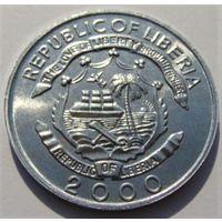 """Либерия. 5 центов 2000 год КМ#474 """"Год дракона"""""""